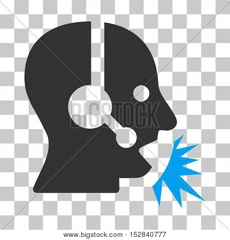Blue And Gray Operator Speech interface toolbar pictogram. Vector pictogram style is a flat bicolor symbol on chess transparent background.