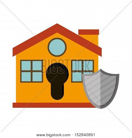 yellow house with shield icon. security system design. colorful design. vector illustration