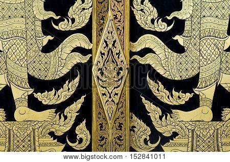 gold pianting traditional Thai style painted temple door
