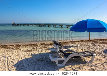 Deck chairs and beach umbrellas in Higgs Beach, Key West, Florida, Unites States. Summer holidays, relaxing and summertime concept.