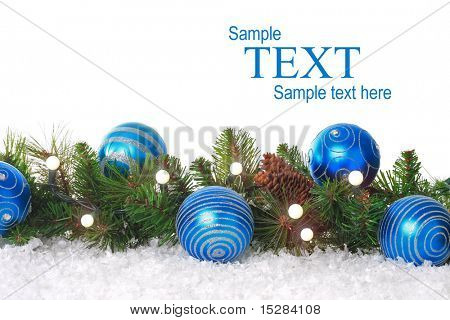 Christmas border with lights, blue ornaments and snow. Add your own text.