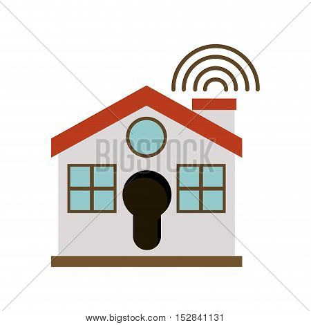 red and white house with wireless waves icon. security system design. colorful design. vector illustration