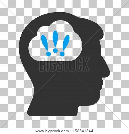 Blue And Gray Problem Brainstorm interface toolbar pictogram. Vector pictograph style is a flat bicolor symbol on chess transparent background.