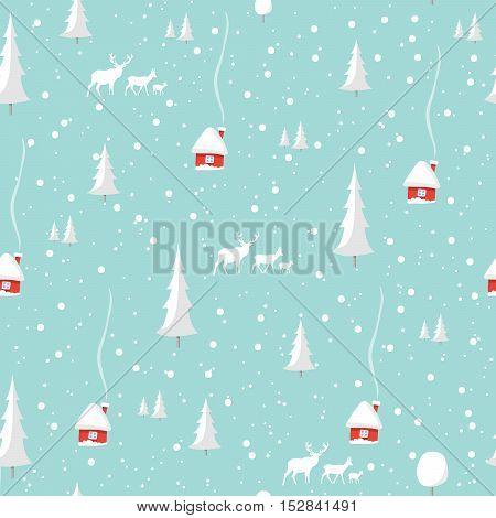 Merry christmas deer, Happy New Year Design Set, seamless pattern Vector illustration EPS10.