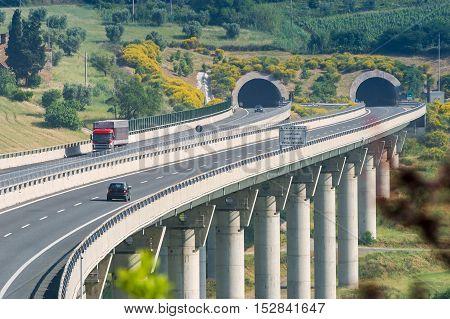 Cecina - Motorway From Rosignano Solvay To Livorno, Tuscany, Italy