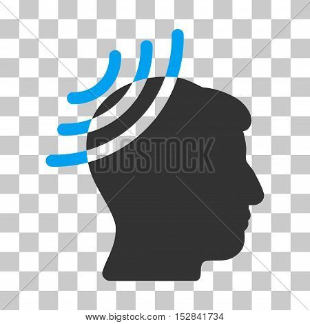 Blue And Gray Radio Reception Head interface toolbar icon. Vector pictograph style is a flat bicolor symbol on chess transparent background.