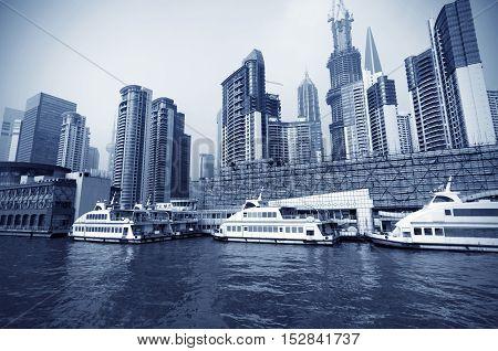 Shanghai, China Lujiazui pier berthing of the ship.