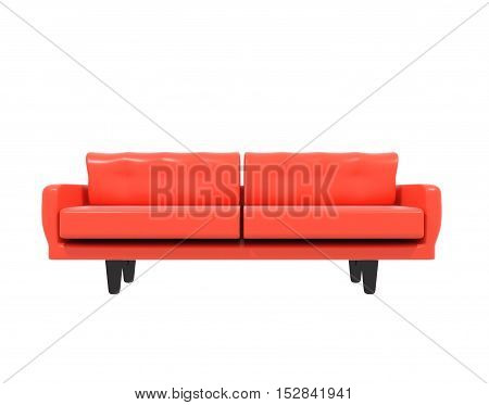 red leather sofa on white background 3D rendering