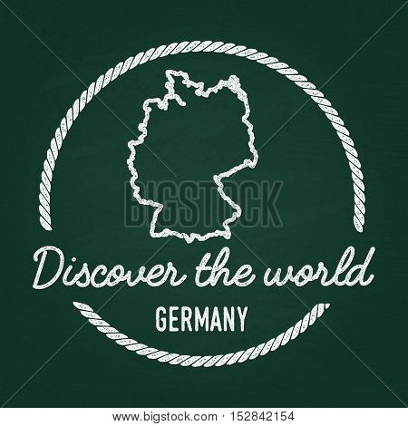 White Chalk Texture Hipster Insignia With Federal Republic Of Germany Map On A Green Blackboard. Gru