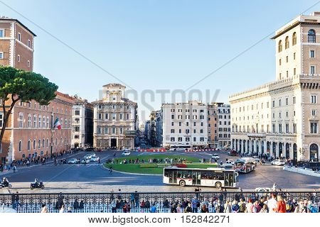 ROME, ITALY - OCTOBER 10, 2016: Photo of piazza venezia in city center with surrounded important buildings from altare