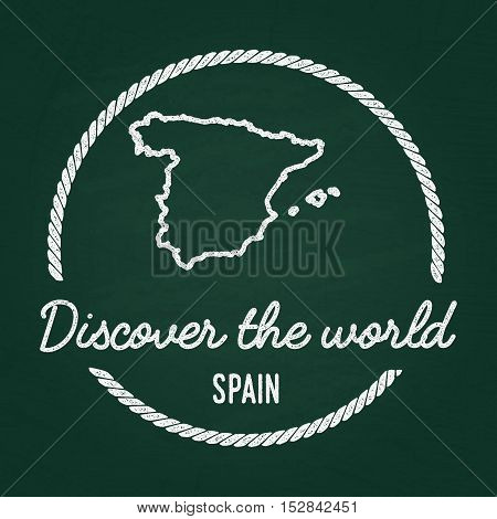 White Chalk Texture Hipster Insignia With Kingdom Of Spain Map On A Green Blackboard. Grunge Rubber