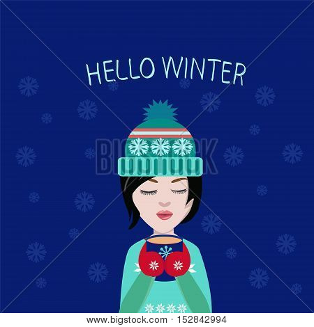 vector winter illustration cute girl with cup of coffee or tea in his handsHoliday card Christmas card. Postcard