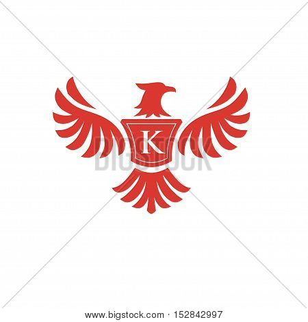elegant phoenix with letter K consulting logo concept,  eagle with letter K logo concept