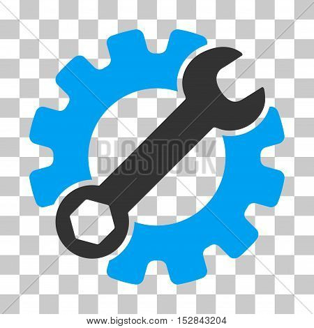 Blue And Gray Service Tools interface toolbar pictogram. Vector pictograph style is a flat bicolor symbol on chess transparent background.