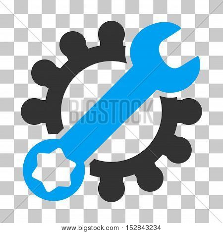 Blue And Gray Service Tools toolbar pictogram. Vector pictograph style is a flat bicolor symbol on chess transparent background.
