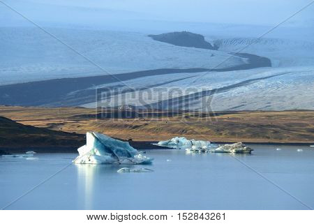 Breathtaking Glacier and the Jokulsarlon Glacier Lagoon with Floating Icebergs, South Iceland