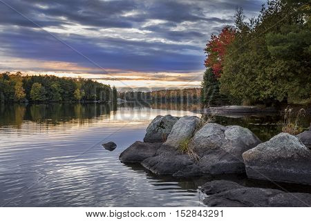 Shoreline Of An Autumn Lake At Sunset - Ontario, Canada