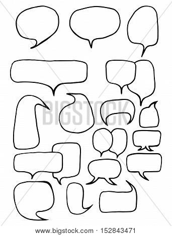 Collection of different shapes and sizes of speech bubbles round oval square. Hand drawn cartoon doodle.