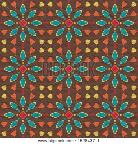Seamless pattern of spots of various colors circles and lines on a dark crumpled paper.