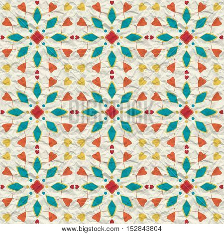 Seamless pattern of spots of various colors circles and lines on a crumpled paper.