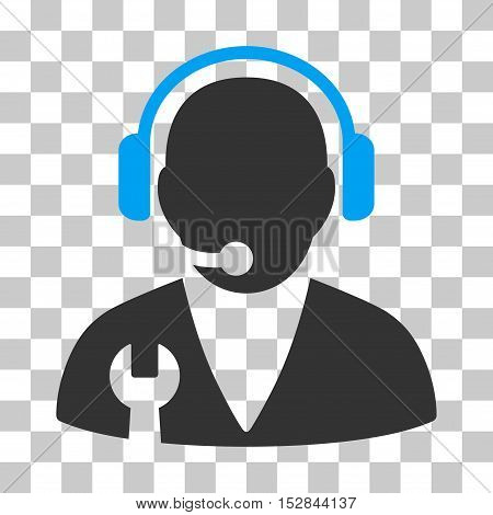 Blue And Gray Support Manager interface icon. Vector pictogram style is a flat bicolor symbol on chess transparent background.