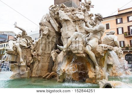 Fountain of the four rivers with an egyptian obelisk, Italy, Rome, Navon Square