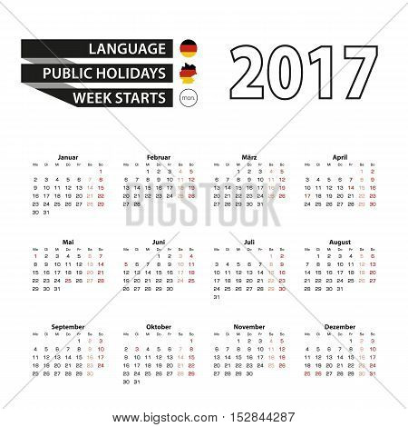 Calendar 2017 on German language. With Public Holidays for Germany in year 2017. Week starts from Monday. Simple Calendar. Vector Illustration.