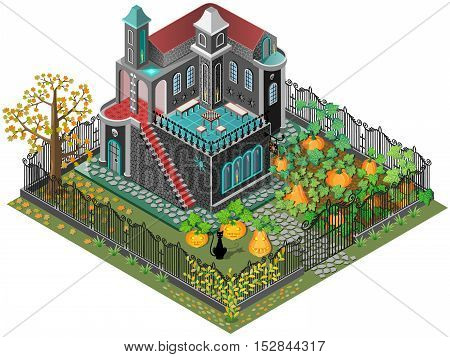 Pumpkins in the garden and pumpkin pie. Vector icon set. Isometric view.