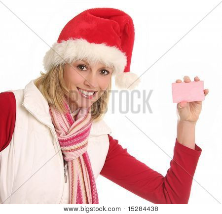 Smiling Santa lady showing gift or credit card. Add your own text. Clipping path for card included.
