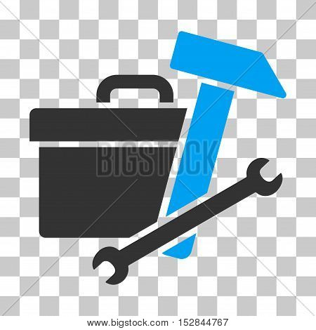 Blue And Gray Toolbox interface toolbar pictogram. Vector pictogram style is a flat bicolor symbol on chess transparent background.