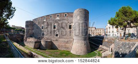 CATANIA ITALY - SEPTEMBER 13 2015: Panorama of the Castello Ursino also known as Castello Svevo di Catania is a castle in Catania Sicily southern Italy.