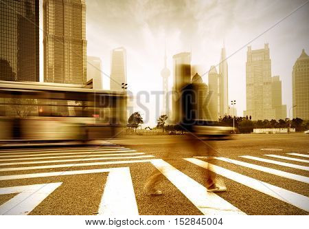 the street scene of the century avenue in shanghaiChina.