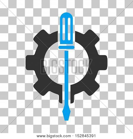 Blue And Gray Tuning Options Gear toolbar pictogram. Vector pictograph style is a flat bicolor symbol on chess transparent background.