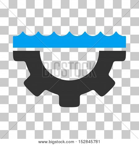 Blue And Gray Water Service Gear interface toolbar pictogram. Vector pictograph style is a flat bicolor symbol on chess transparent background.