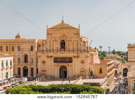 NOTO ITALY - SEPTEMBER 14 2015: The church of Santissima Salvatore in Noto in Sicily Italy. UNESCO World Heritage Site.