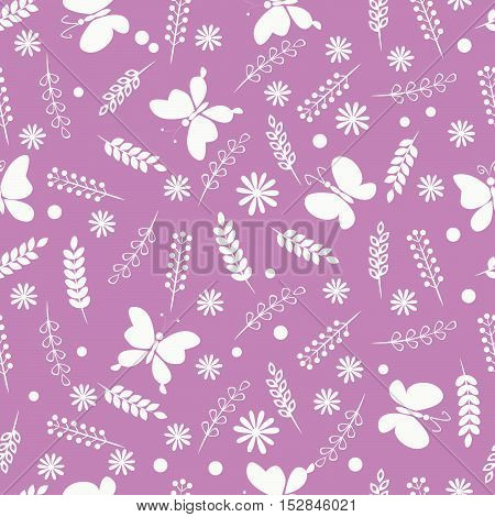 Summer meadow, Seamless floral pattern with herbs, flowers and butterflies