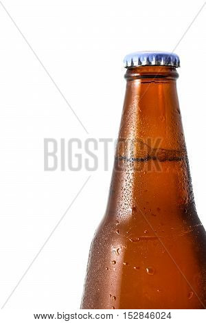 closeup bottle beer with drop isolated on white background