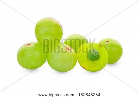 Indian gooseberry or Amla (Phyllanthus emblica) on white