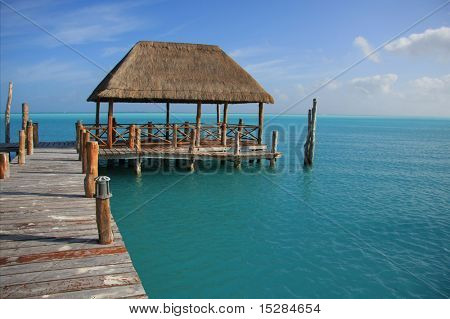 Beautiful dock in Caribbean tropical waters. Also available in vertical.