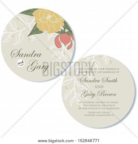 Round, double-sided wedding invitation card. Vector illustration