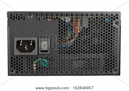 Black power supply unit close-up electrical device isolated on white
