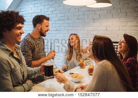 Enjoying Food And Burgers