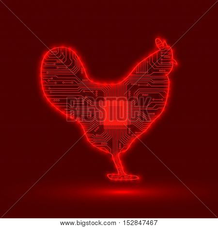 Abstract cock. Electronic circuit. Vector illustration. Abstract background.