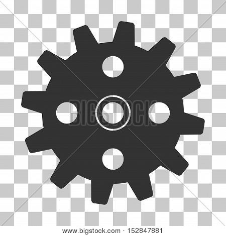 Gray Cogwheel interface icon. Vector pictograph style is a flat symbol on chess transparent background.