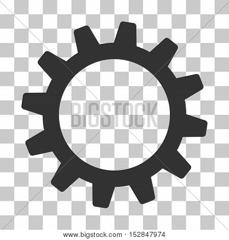 Gray Cogwheel interface icon. Vector pictogram style is a flat symbol on chess transparent background.