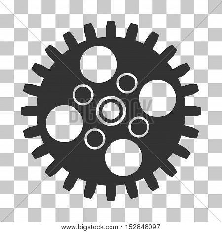 Gray Cogwheel toolbar pictogram. Vector pictogram style is a flat symbol on chess transparent background.