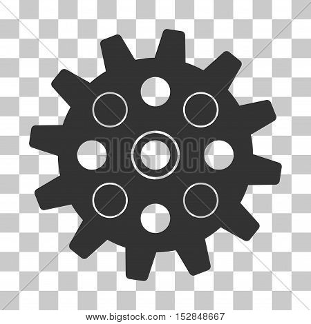 Gray Gearwheel interface toolbar pictogram. Vector pictograph style is a flat symbol on chess transparent background.