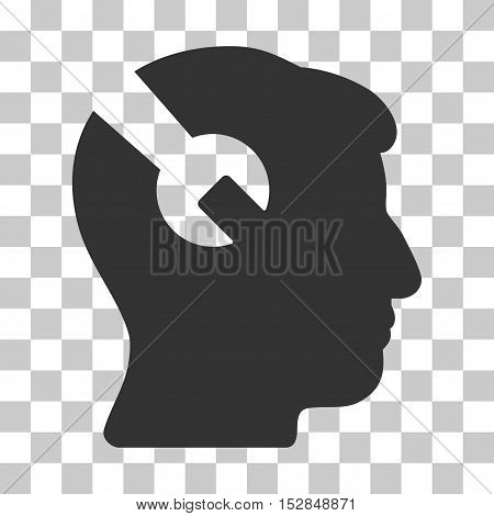 Gray Head Surgery Wrench interface toolbar icon. Vector pictogram style is a flat symbol on chess transparent background.