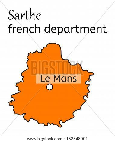 Sarthe french department map on white in vector