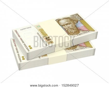Croatian kuna bills isolated on white background. 3D illustration.